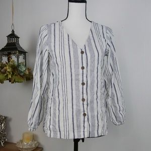 LOFT Long Sleeve Top Striped Linen Button Front XS